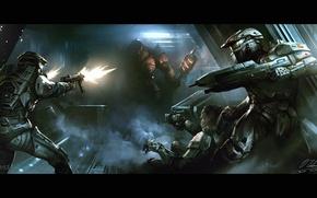 Картинка фантастика, коридор, автомат, пришелец, броня, схватка, halo, Halo Wars
