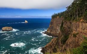Картинка море, скала, прибой, Oregon, multi monitors, ultra hd, Cape Meares