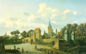 Картинка город, картина, Ян ван дер Хейден, Святой Северин в Кельне на Фоне Городского Пейзажа