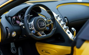 Обои Bugatti, салон, 2018, Chiron, Yellow and Black