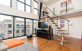 Картинка город, интерьер, лестница, пентхаус, гостиная