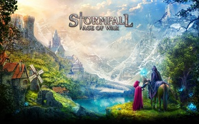 Картинка game, village, dragon, castle, vegetation, hood, montain, mahou, Stormfall, Stormfall: Age Of War