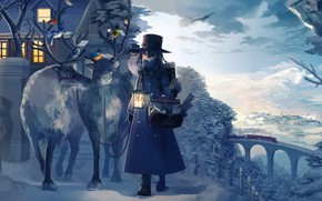 Картинка house, Winter, animals, landscape, anime, snow, birds, train, artwork, reindeer, children, cold, lantern, postman