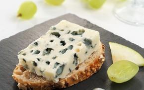Картинка Франция, сыр, хлеб, виноград, бутерброд, France, Рокфор, Roquefort