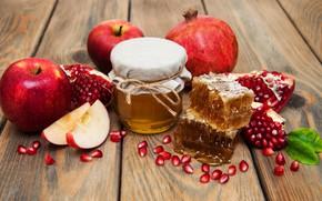 Картинка банка, красные, гранат, мёд, боке, доски, фрукты, яблоки