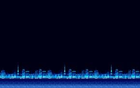 Обои Минимализм, Синий, Город, Фон, Пиксели, 8bit, Electronic, 8бит, 8 bit, bit, Synth, Retrowave, Синти, Synthwave, ...