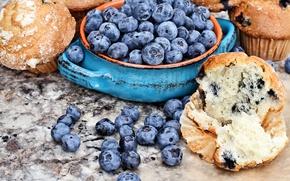 Картинка ягоды, черника, fresh, выпечка, кексы, blueberry, berries, маффины, muffin