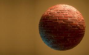 Картинка стена, шар, минимализм, кирпич, Peter Sekula