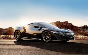 Обои купе, Acura, суперкар, солнце, акура, Coupe, NSX