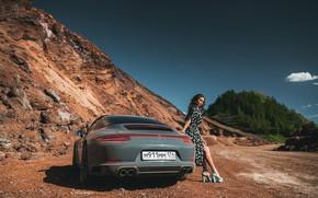 Картинка дорога, машина, авто, природа, поза, Porsche, платье, ножки, Антон Харисов, Саша Версаль