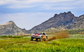 Картинка Природа, Горы, Скалы, Спорт, Скорость, Гонка, Грязь, Peugeot, Фары, Red Bull, Rally, Ралли, Sport, Бездорожье, …