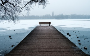 Картинка Winter, Snow, Hannover, frost, Bench