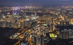Обои город, панорама, Hong Kong, Гонконг, огни, Китай