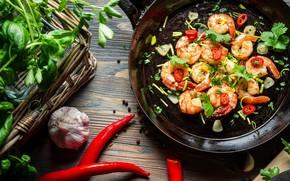 Картинка креветки, морепродукты, специи, зелень петрушки