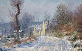Обои Клод Моне, картина, снег, дерево, дом, Дорога в Живерни Зимой, пейзаж, Claude Monet