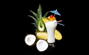 Обои стакан, черный фон, ананасы, фрукты, трубочки, коктейль, белый, кокосы, зонтик