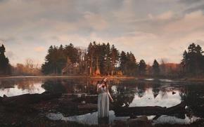 Картинка лес, девушка, река, Aleah Michele, How beautiful a heart can bleed