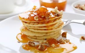 Картинка мед, орехи, блинчики