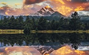 Картинка лес, hdr, сша, usa, горное озеро, закат в горах, горы аппалачи, закат над горами, appalachian …