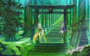 Картинка девушки, аниме, лестница, fate/grand order