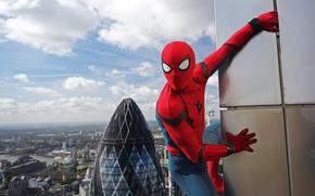 Картинка city, cinema, spider, sky, boy, Marvel, movie, Spider-man, hero, film, Spiderman, uniform, yuusha, seifuku, Justice …