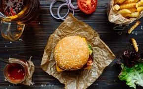 Картинка лук, помидор, соус, гамбургер, котлета, сэндвич, фастфуд, булочка, салат, tomatoes, fast food, hamburger, картошка фри