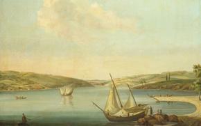 Картинка пейзаж, лодка, масло, картина, парус, холст, Jan Van der Steen, Вид на Босфор