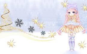 Картинка зима, праздник, арт, девочка, Новый год, снежинка, No Name