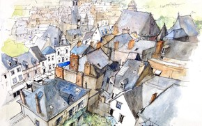 Картинка город, рисунок, Франция, дома, акварель, Амбуаз