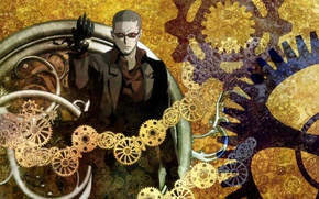 Картинка anime, man, gears, time, suit, clock, japanese, hours, Clockwork Planet
