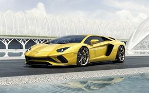 Картинка Lamborghini, Yellow, Aventador, Supercar, Coupé, 2017, S