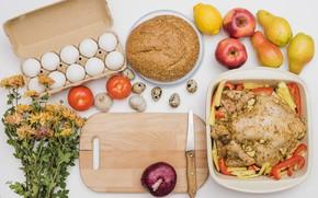 Картинка цветы, яйца, хлеб, фрукты, овощи, запеченная курица