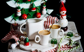 Картинка игрушки, новый год, кофе, снеговик, декор