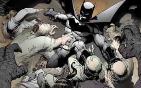 Картинка Бэтмен, Костюм, Драка, Герой, Маска, Комикс, Плащ, Супергерой, Hero, Batman, Брюс Уэйн, Бандиты, DC Comics, …