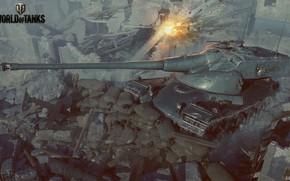 Картинка танк, руины, мешки, World of Tanks, AMX 50B