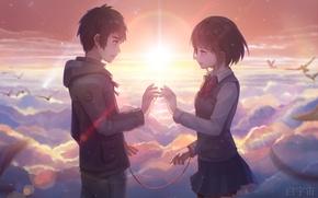 Картинка небо, девушка, облака, закат, птицы, аниме, арт, форма, парень, двое, нить, школьники, aoiakamaou, kimi no …