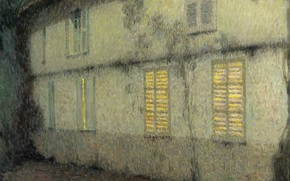 Картинка свет, дом, окна, картина, Henri Le Sedaner, Анри Ле Сиданэ, Закрытые Ставни. Жерберуа