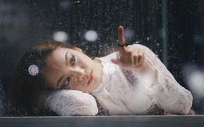 Картинка window, female, thoughtful, Water drops