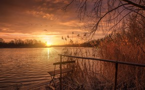 Обои закат, озеро, солце