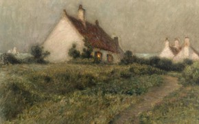 Картинка пейзаж, картина, Henri Le Sedaner, Анри Ле Сиданэ, Дом на Дюне. Фор-Филипп