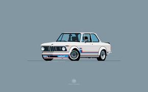 Картинка Авто, Минимализм, Ретро, BMW, Машина, Арт, 2002, 1974, BMW 2002, Nik Schulz, 1974 BMW 2002