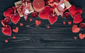 Картинка Свеча, Сердечки, Фон, Праздник, Подарок, День влюбленных