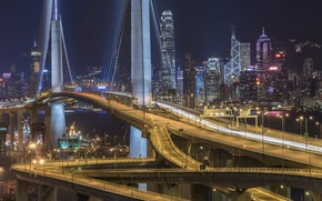 Картинка ночь, мост, город, огни, Гонконг, Китай, Stonecutters` Bridge,HongKong