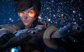 Обои pistol, Tracer, gun, by lemon100, girl, Overwatch, weapon, game