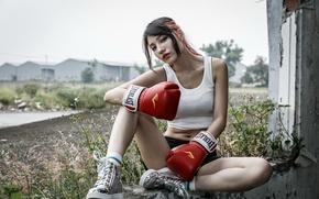 Обои девушка, спорт, бокс