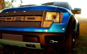 Картинка car, game, ford, raptor, blue, truck, f150
