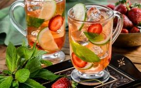 Обои лайм, клубника, коктейль, мята, напиток, лед, фрукты