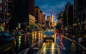 Обои город, ночь, New York, улица, огни