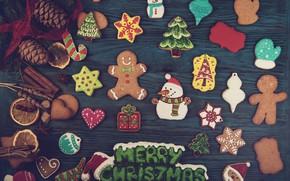 Картинка Новый Год, печенье, Рождество, wood, Merry Christmas, cookies, decoration, пряники, gingerbread