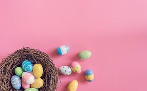 Картинка корзина, яйца, весна, colorful, Пасха, wood, spring, Easter, eggs, decoration, Happy, tender